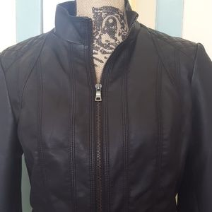 Faux Leather Quilted Jacket NWOT